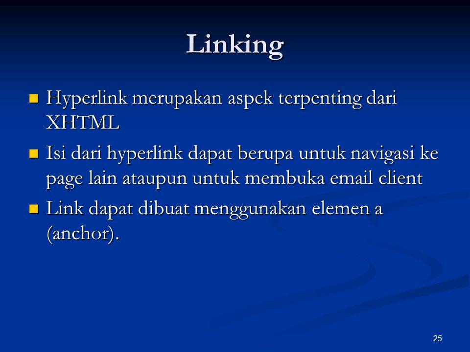 Linking Hyperlink merupakan aspek terpenting dari XHTML