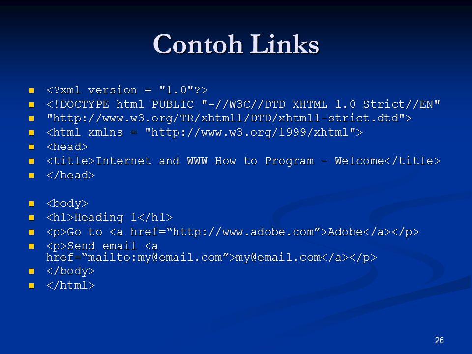 Contoh Links < xml version = 1.0 >
