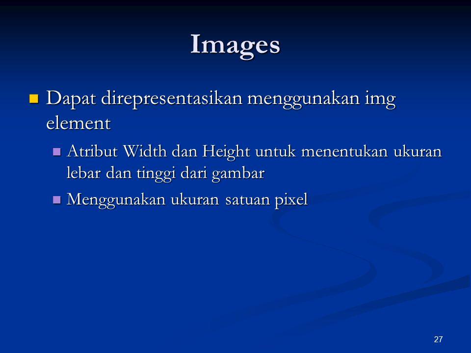 Images Dapat direpresentasikan menggunakan img element