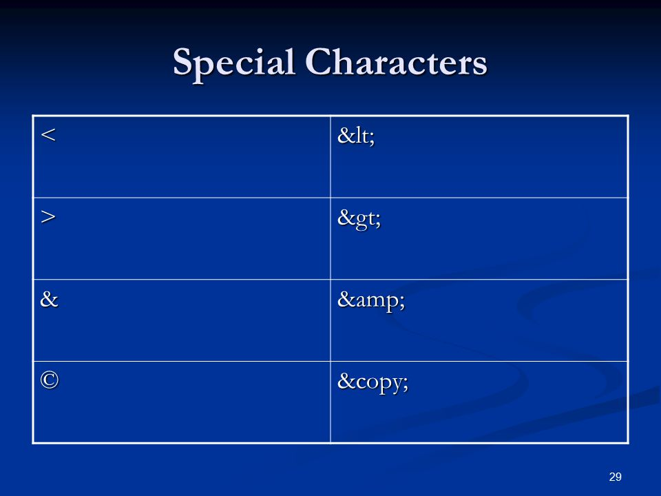 Special Characters < > & & © ©