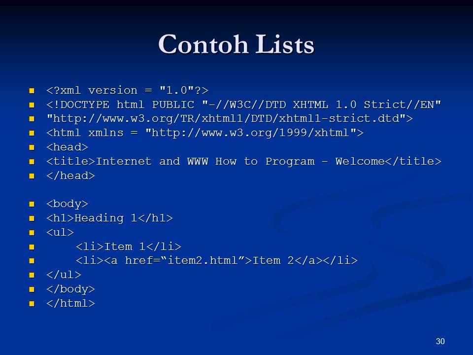 Contoh Lists < xml version = 1.0 >