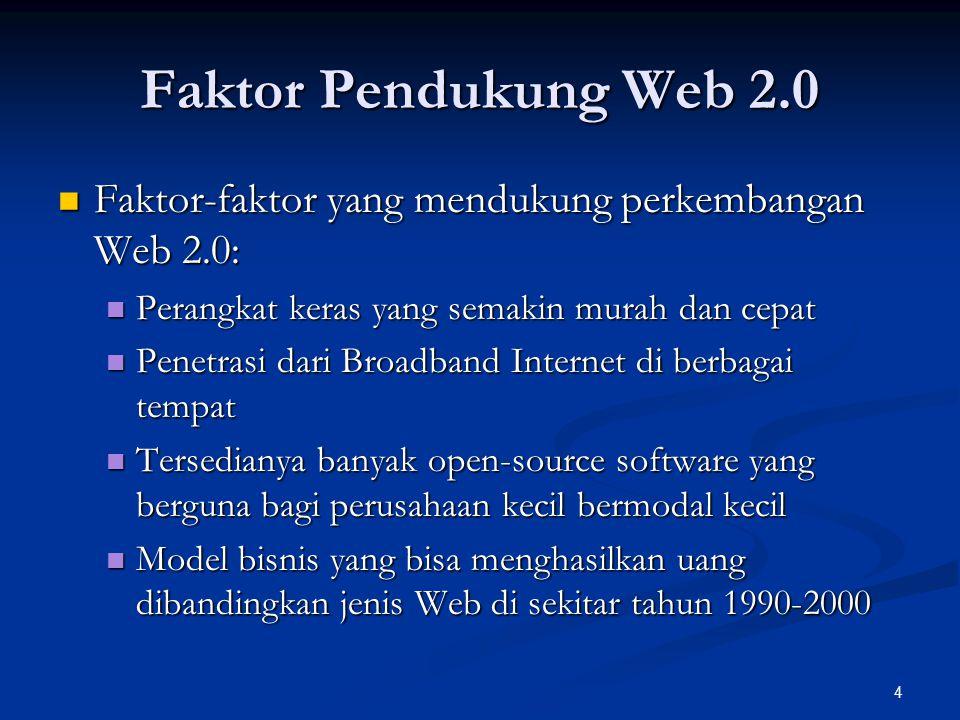 Faktor Pendukung Web 2.0 Faktor-faktor yang mendukung perkembangan Web 2.0: Perangkat keras yang semakin murah dan cepat.