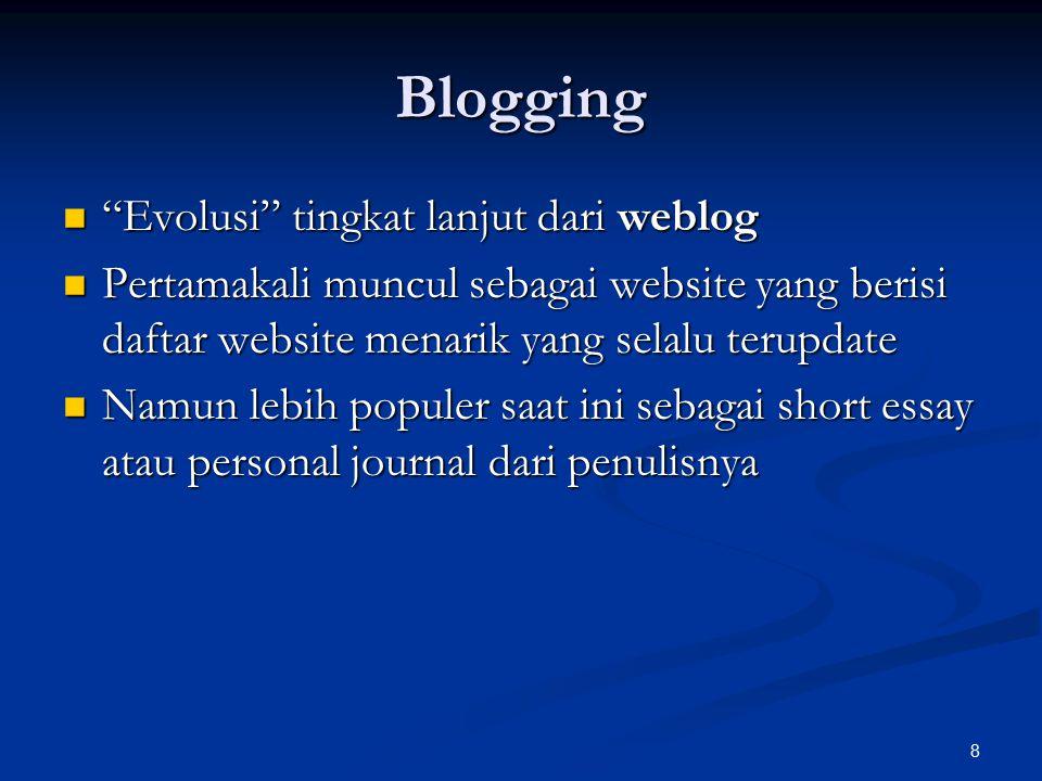Blogging Evolusi tingkat lanjut dari weblog