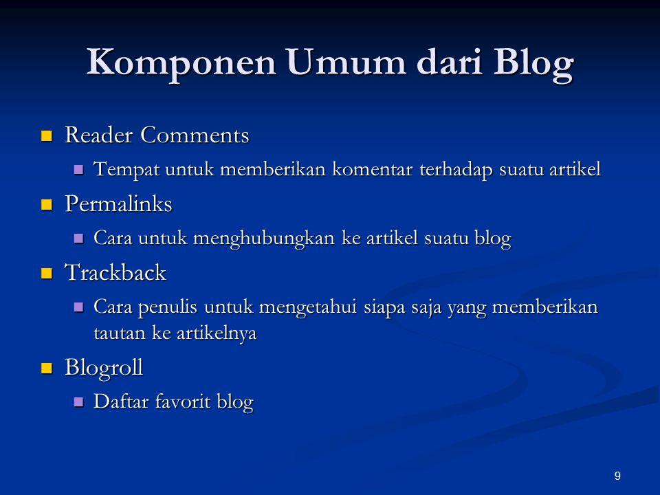 Komponen Umum dari Blog