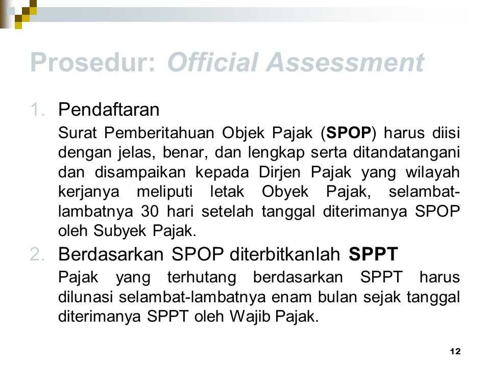 Prosedur: Official Assessment