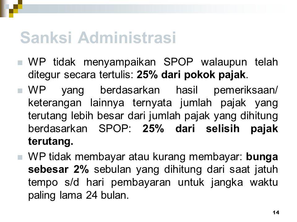 Sanksi Administrasi WP tidak menyampaikan SPOP walaupun telah ditegur secara tertulis: 25% dari pokok pajak.