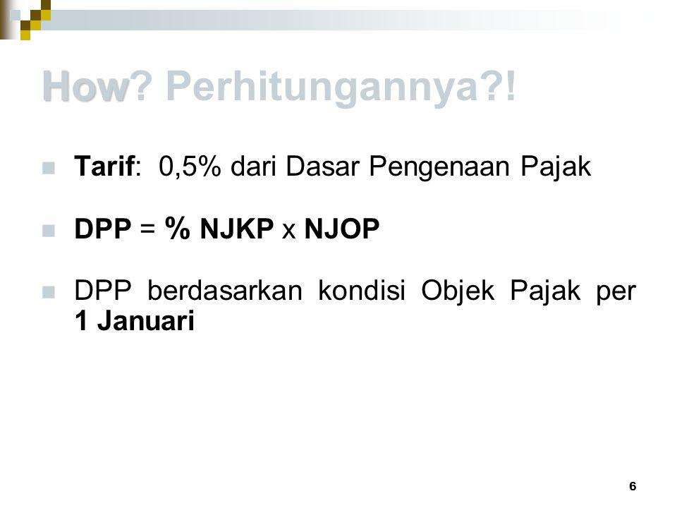 How Perhitungannya ! Tarif: 0,5% dari Dasar Pengenaan Pajak