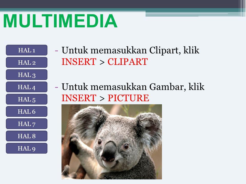 MULTIMEDIA Untuk memasukkan Clipart, klik INSERT > CLIPART