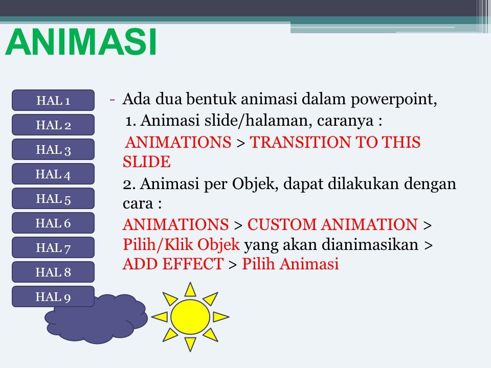 ANIMASI Ada dua bentuk animasi dalam powerpoint,