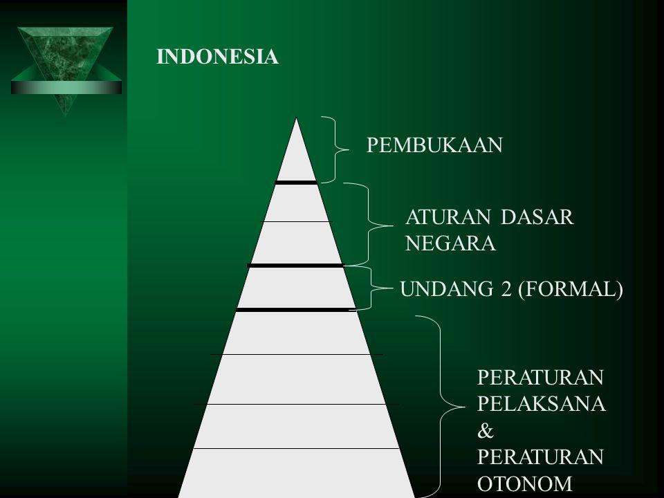 INDONESIA PEMBUKAAN ATURAN DASAR NEGARA UNDANG 2 (FORMAL) PERATURAN PELAKSANA & PERATURAN OTONOM