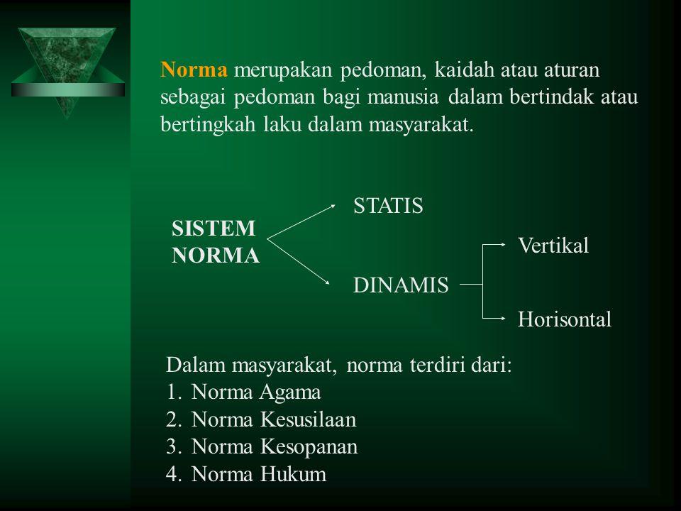 Norma merupakan pedoman, kaidah atau aturan sebagai pedoman bagi manusia dalam bertindak atau bertingkah laku dalam masyarakat.
