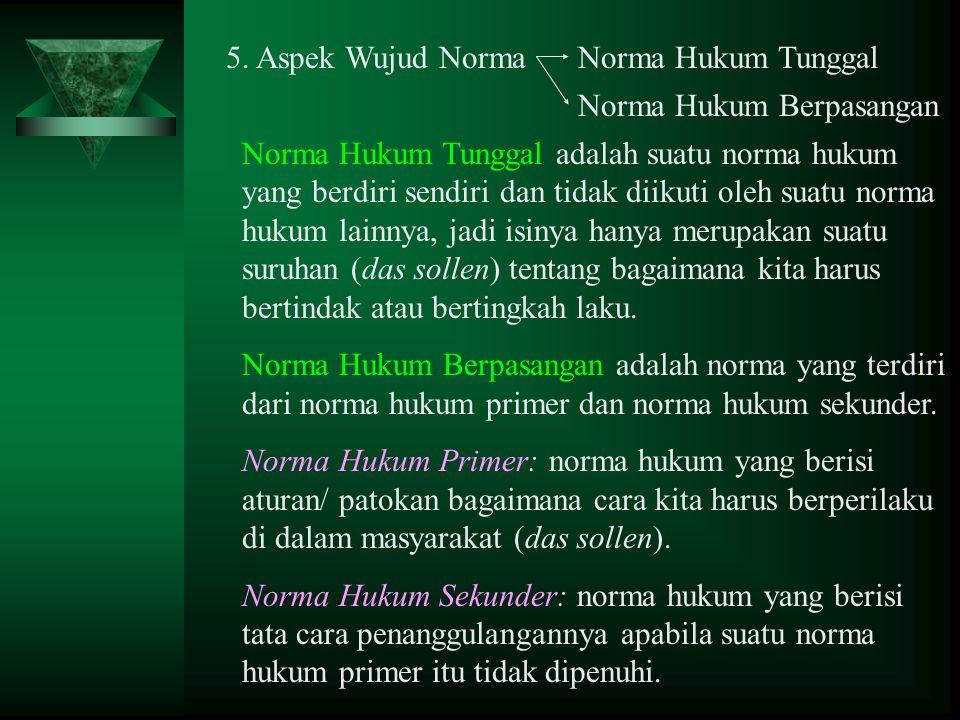 5. Aspek Wujud Norma Norma Hukum Tunggal. Norma Hukum Berpasangan.