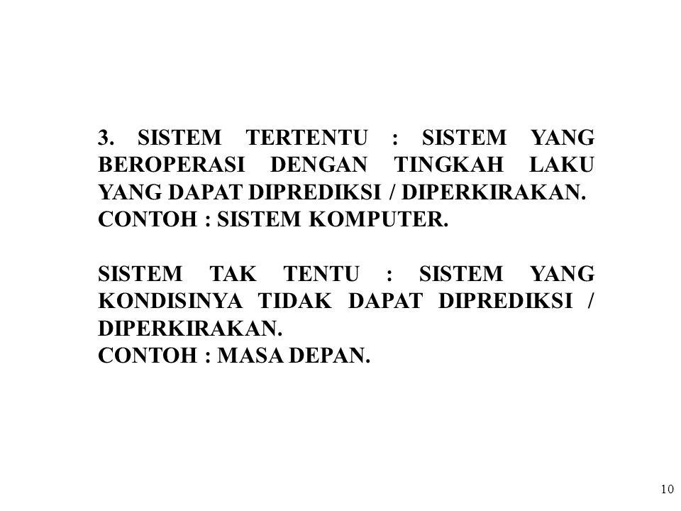 3. SISTEM TERTENTU : SISTEM YANG BEROPERASI DENGAN TINGKAH LAKU YANG DAPAT DIPREDIKSI / DIPERKIRAKAN.