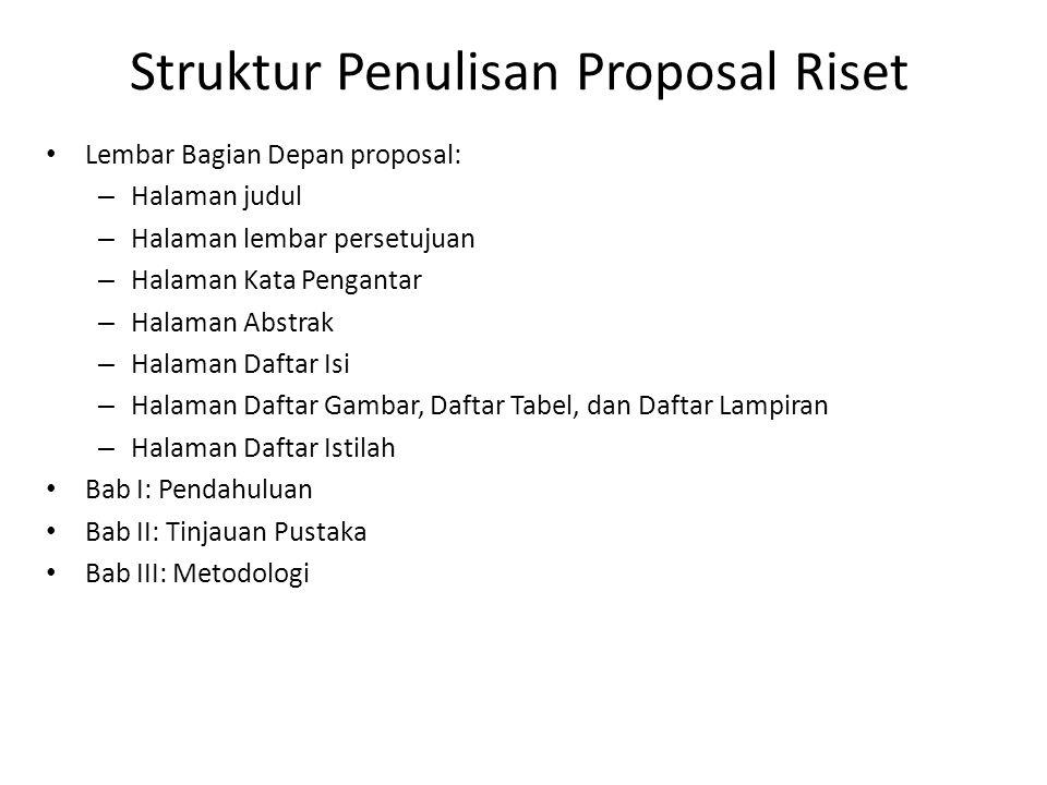 Struktur Penulisan Proposal Riset
