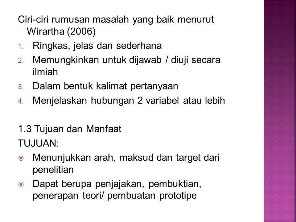 Ciri-ciri rumusan masalah yang baik menurut Wirartha (2006)