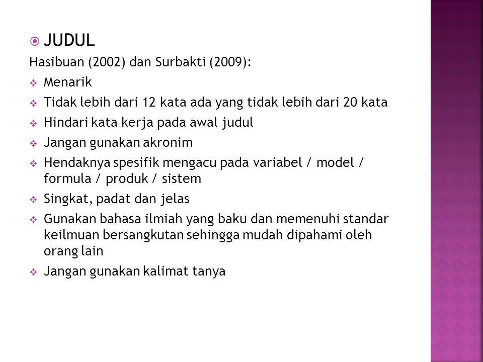 JUDUL Hasibuan (2002) dan Surbakti (2009): Menarik