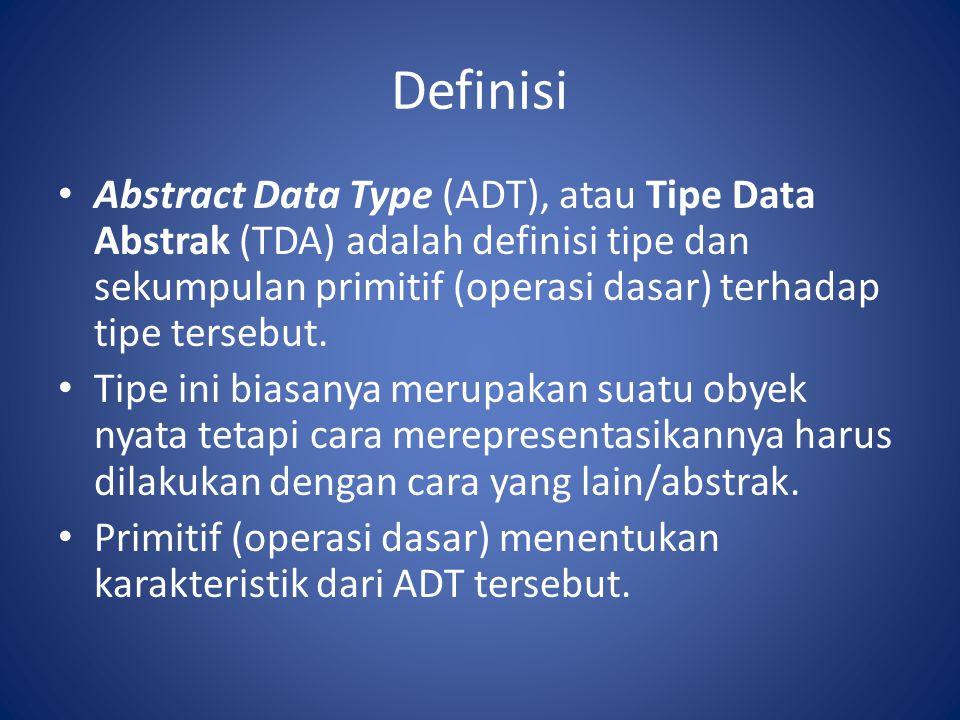 Definisi Abstract Data Type (ADT), atau Tipe Data Abstrak (TDA) adalah definisi tipe dan sekumpulan primitif (operasi dasar) terhadap tipe tersebut.