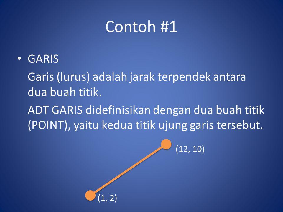 Contoh #1 GARIS. Garis (lurus) adalah jarak terpendek antara dua buah titik.