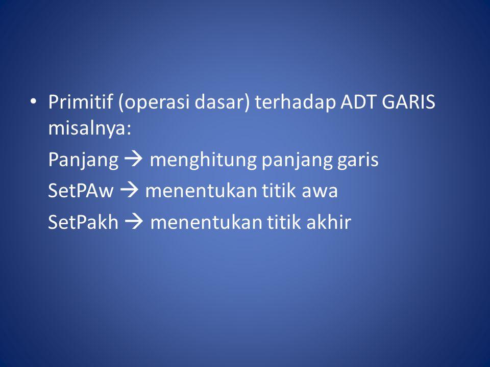 Primitif (operasi dasar) terhadap ADT GARIS misalnya: