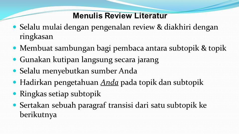 Menulis Review Literatur