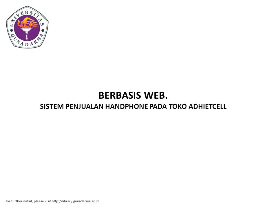 BERBASIS WEB. SISTEM PENJUALAN HANDPHONE PADA TOKO ADHIETCELL