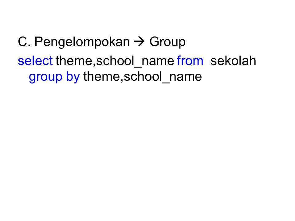 C. Pengelompokan  Group