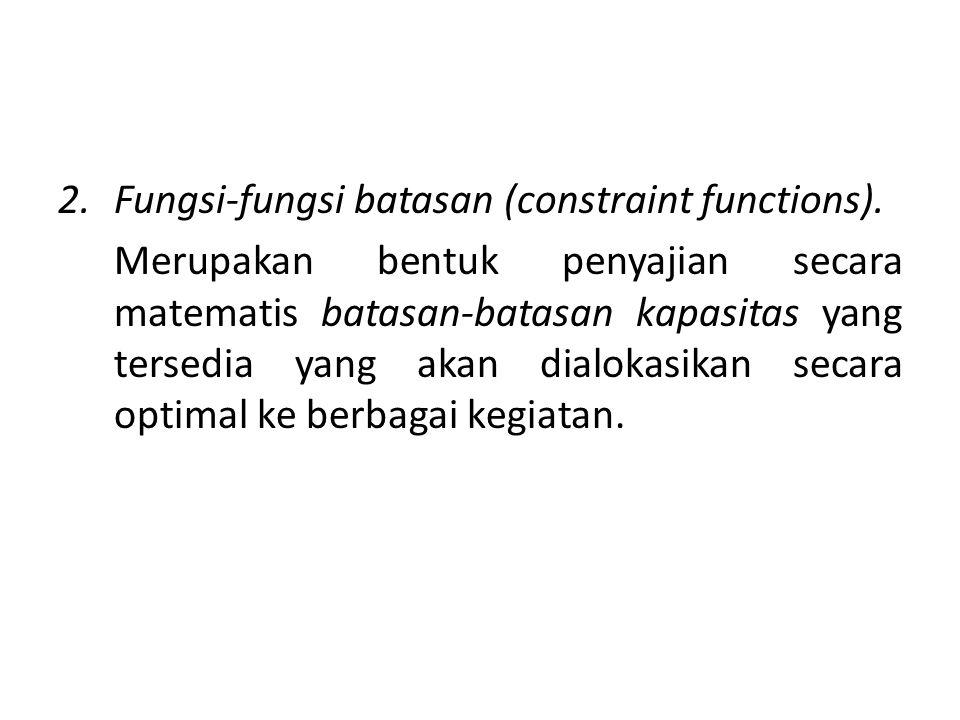Fungsi-fungsi batasan (constraint functions).