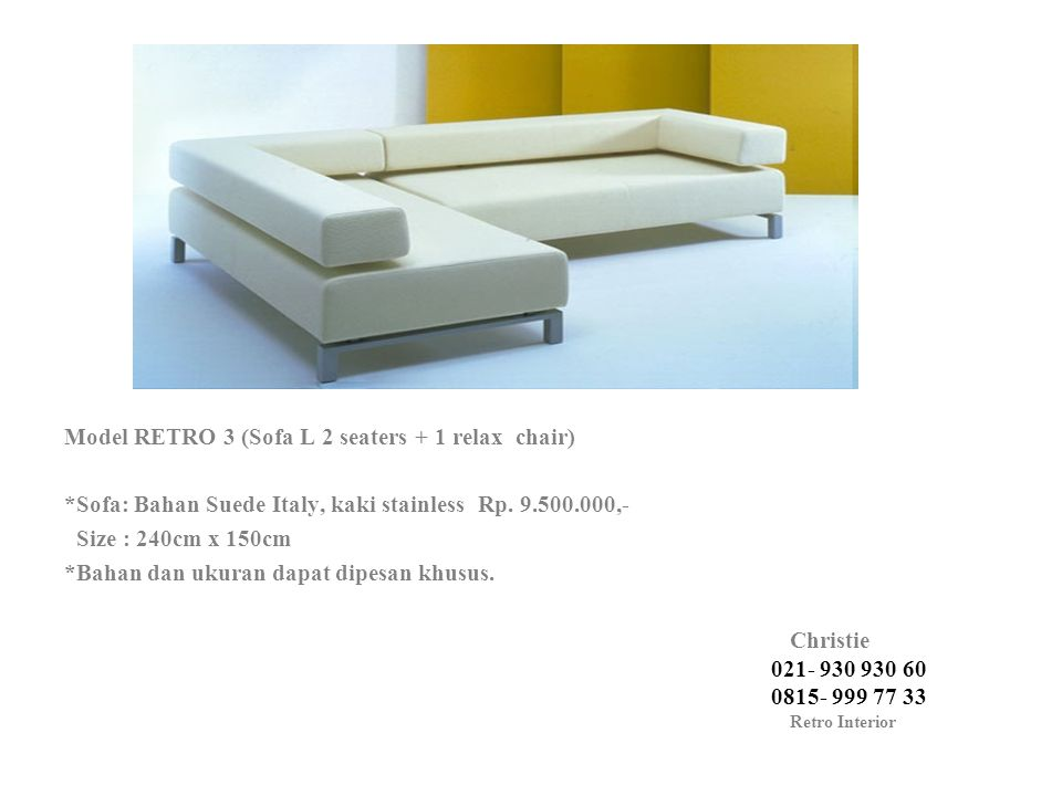 Model RETRO 3 (Sofa L 2 seaters + 1 relax chair)
