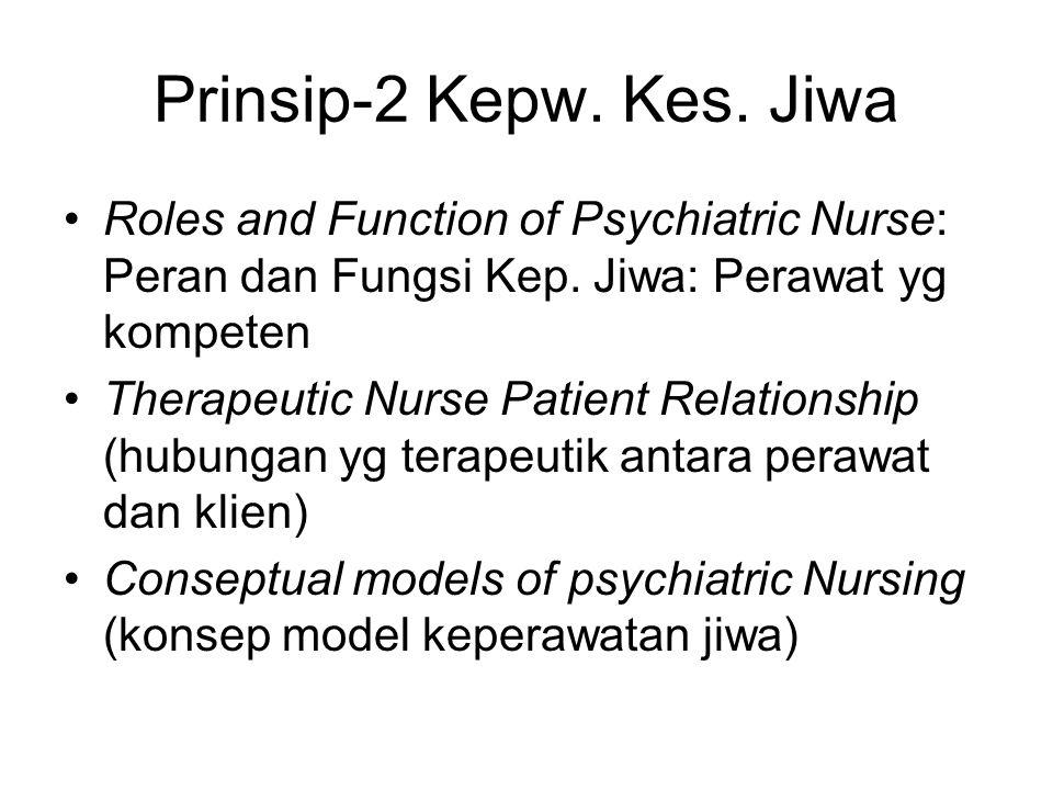 Prinsip-2 Kepw. Kes. Jiwa Roles and Function of Psychiatric Nurse: Peran dan Fungsi Kep. Jiwa: Perawat yg kompeten.