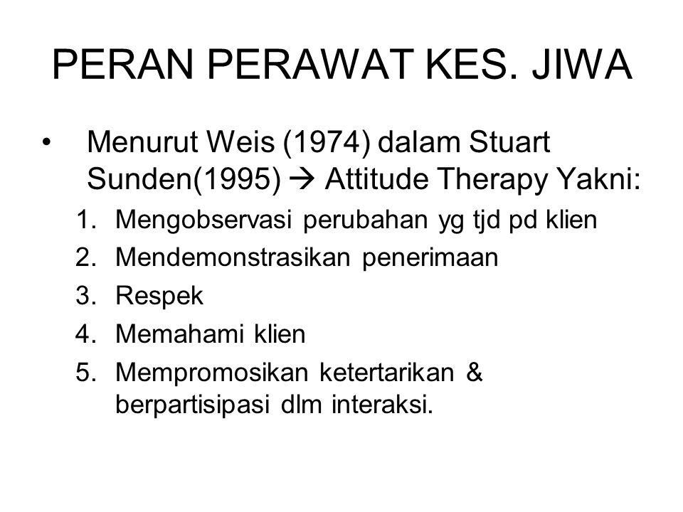 PERAN PERAWAT KES. JIWA Menurut Weis (1974) dalam Stuart Sunden(1995)  Attitude Therapy Yakni: Mengobservasi perubahan yg tjd pd klien.