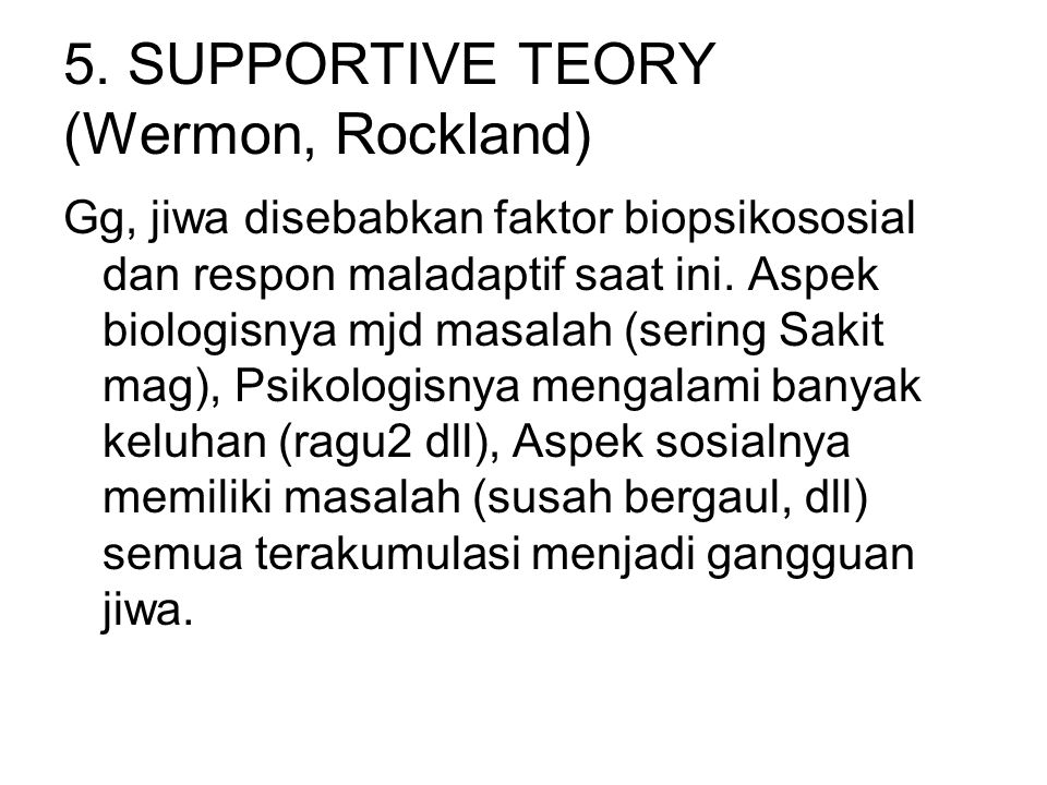 5. SUPPORTIVE TEORY (Wermon, Rockland)