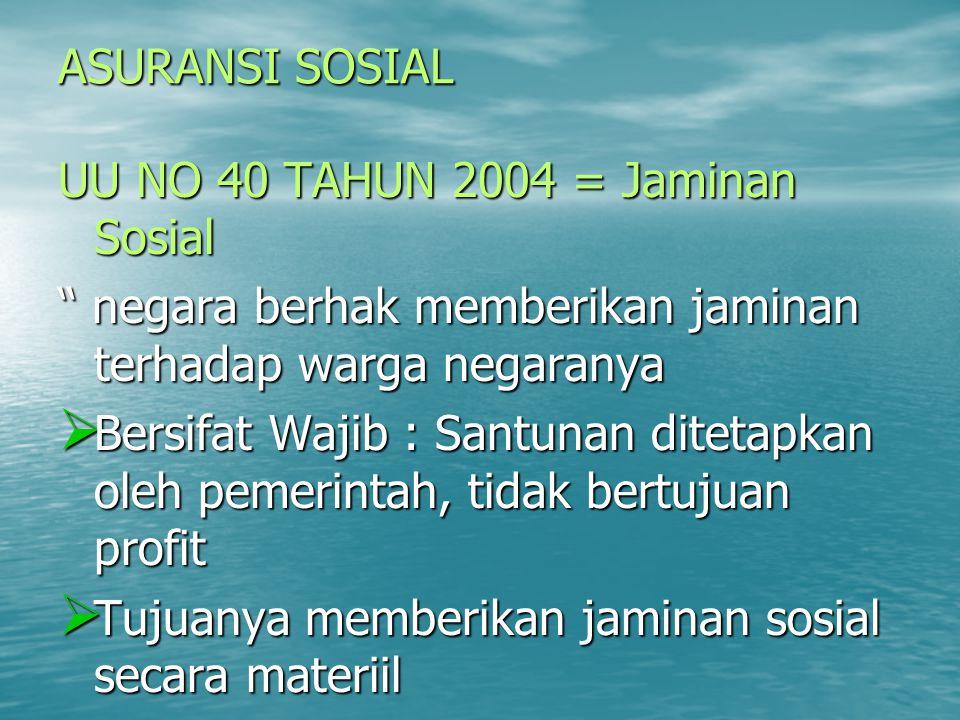 ASURANSI SOSIAL UU NO 40 TAHUN 2004 = Jaminan Sosial. negara berhak memberikan jaminan terhadap warga negaranya.