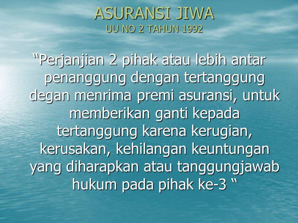 ASURANSI JIWA UU NO 2 TAHUN 1992