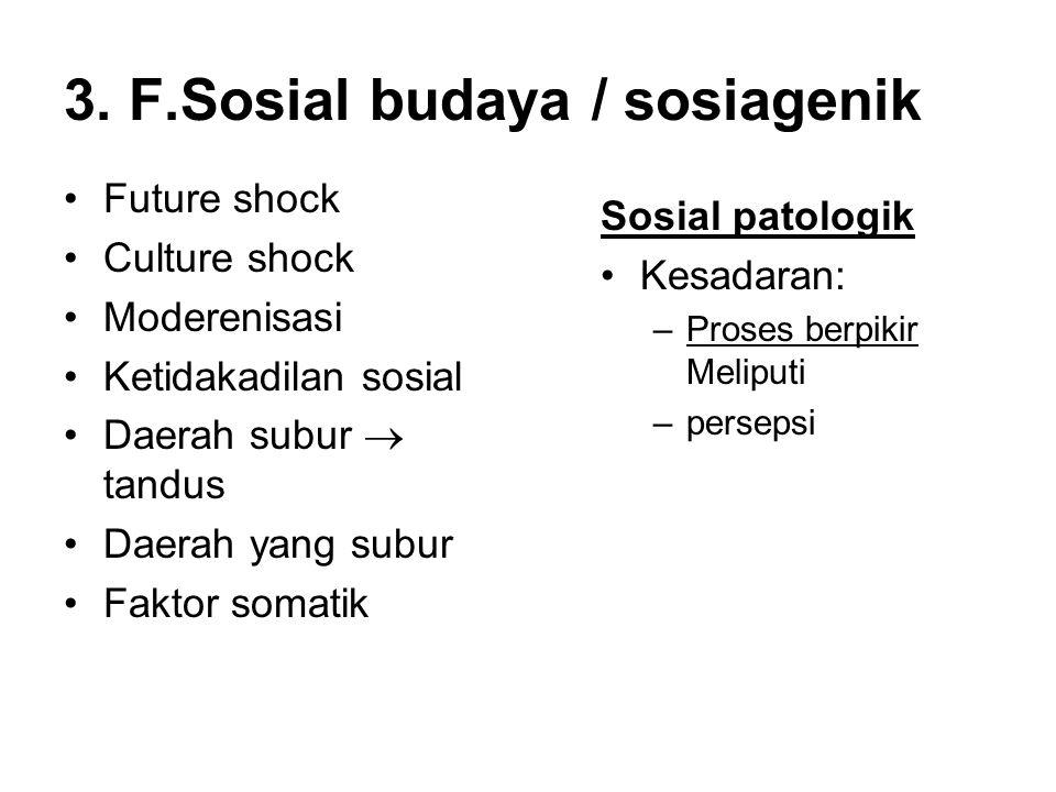 3. F.Sosial budaya / sosiagenik