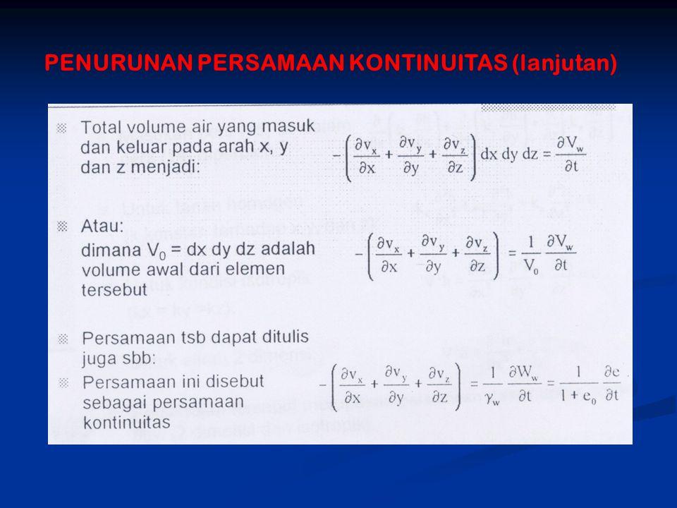 PENURUNAN PERSAMAAN KONTINUITAS (lanjutan)