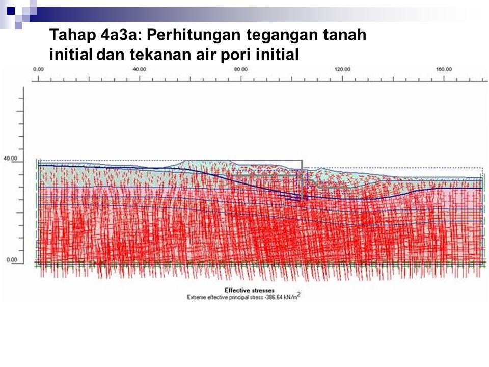 Tahap 4a3a: Perhitungan tegangan tanah initial dan tekanan air pori initial