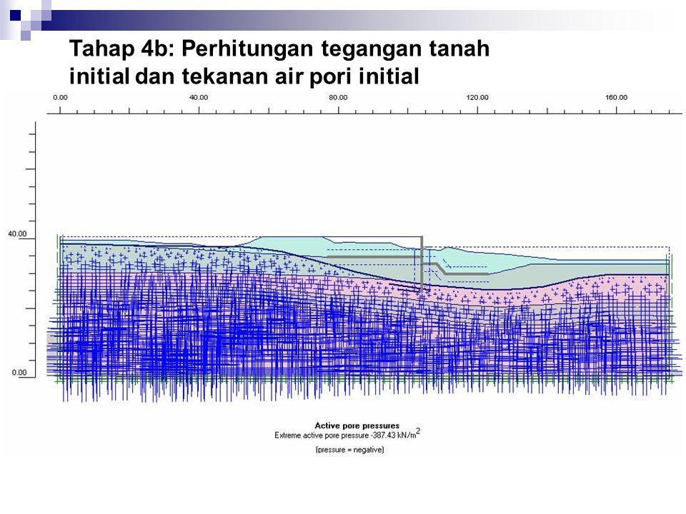Tahap 4b: Perhitungan tegangan tanah initial dan tekanan air pori initial
