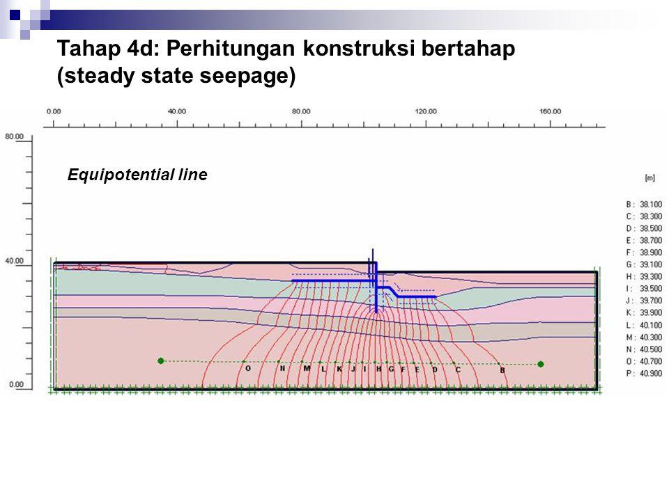 Tahap 4d: Perhitungan konstruksi bertahap (steady state seepage)
