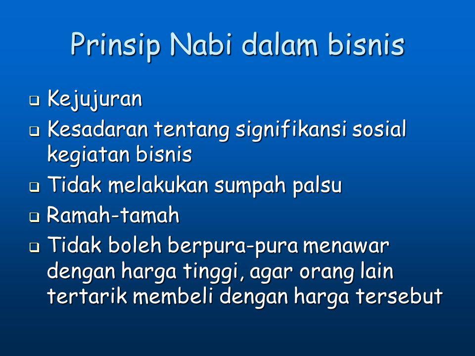 Prinsip Nabi dalam bisnis
