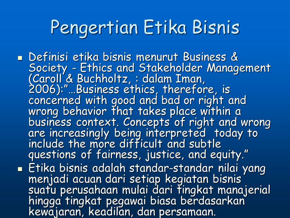 Pengertian Etika Bisnis