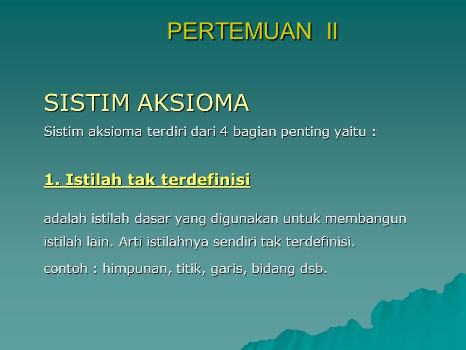 PERTEMUAN II SISTIM AKSIOMA 1. Istilah tak terdefinisi