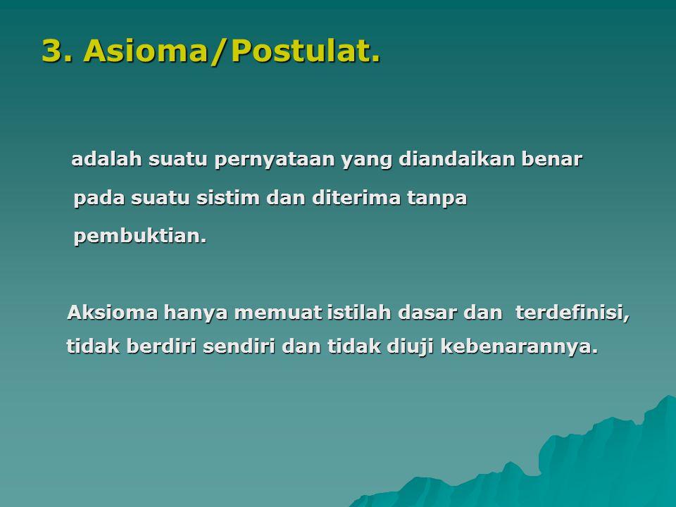 3. Asioma/Postulat. pada suatu sistim dan diterima tanpa pembuktian.