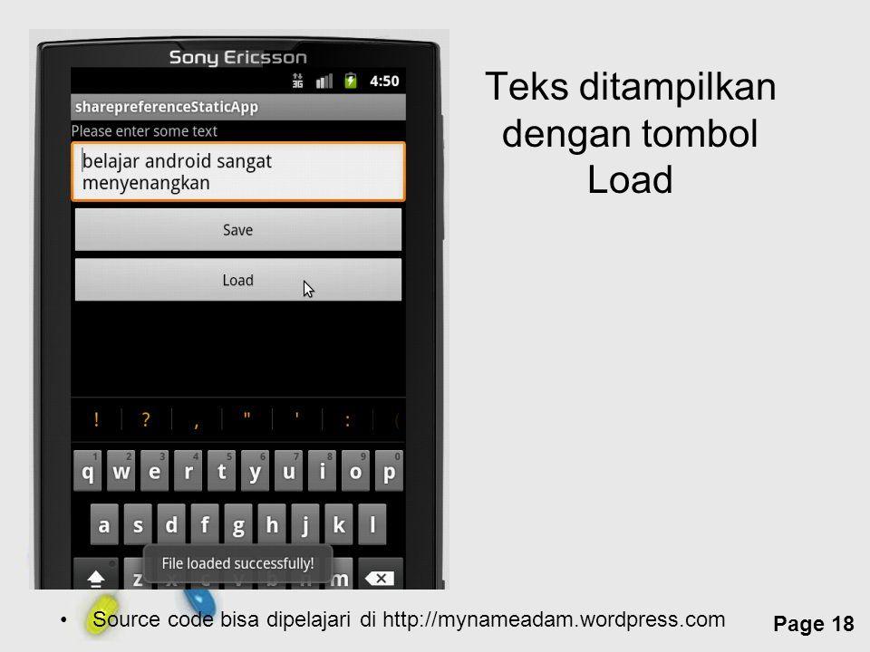 Teks ditampilkan dengan tombol Load