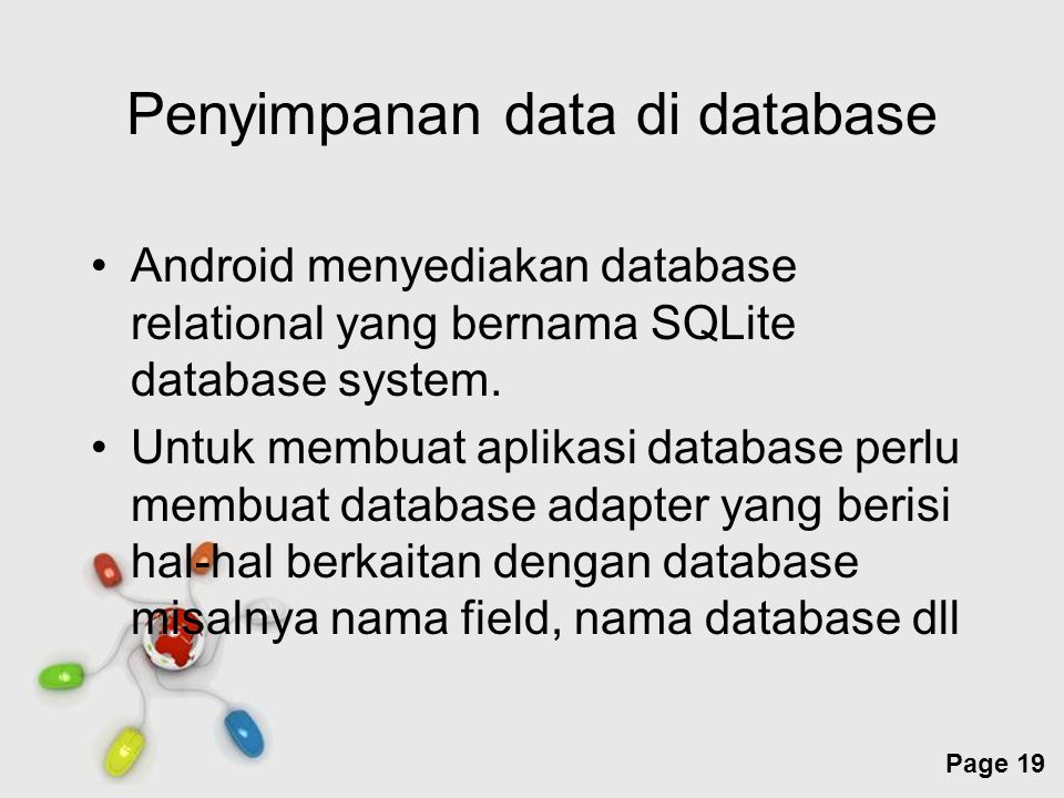 Penyimpanan data di database