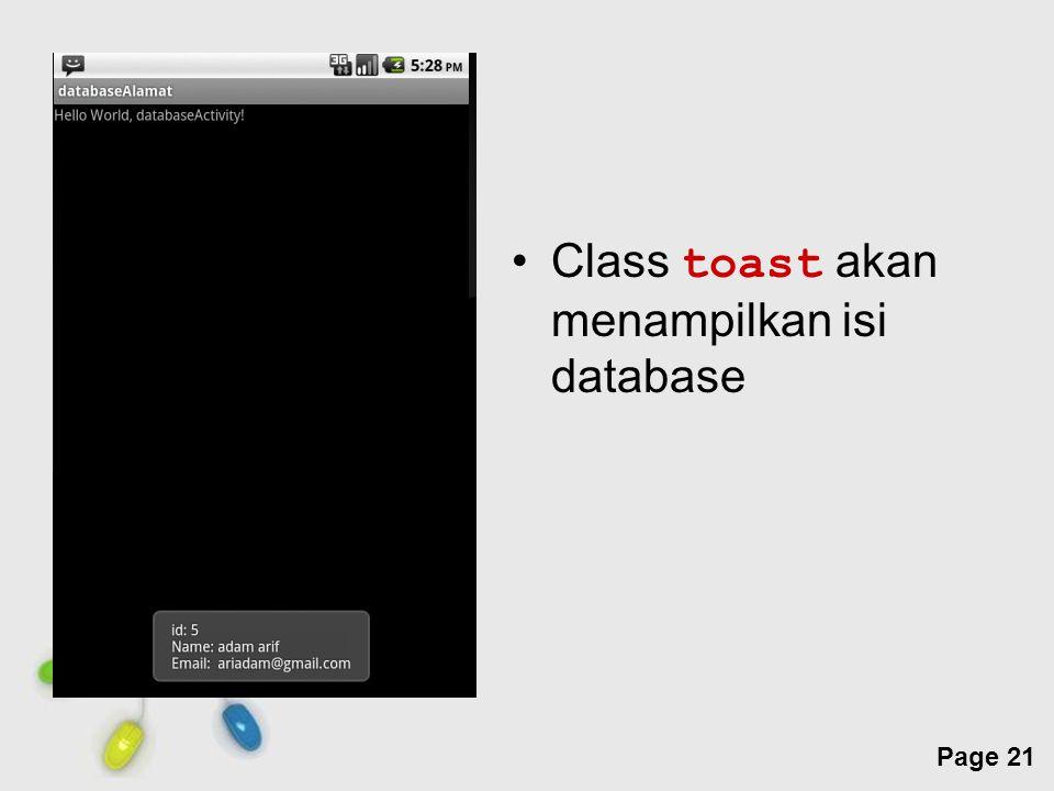 Class toast akan menampilkan isi database