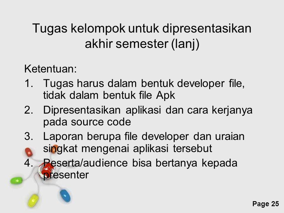 Tugas kelompok untuk dipresentasikan akhir semester (lanj)