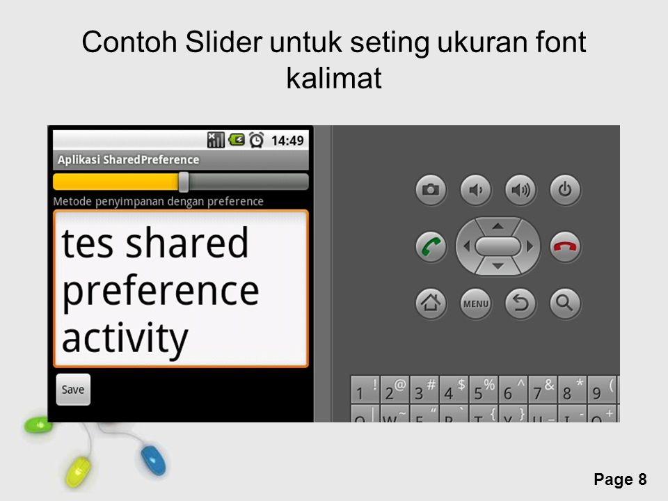 Contoh Slider untuk seting ukuran font kalimat