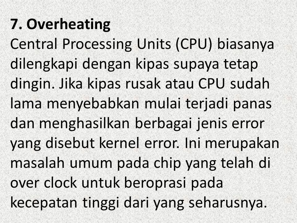 7. Overheating Central Processing Units (CPU) biasanya dilengkapi dengan kipas supaya tetap dingin.