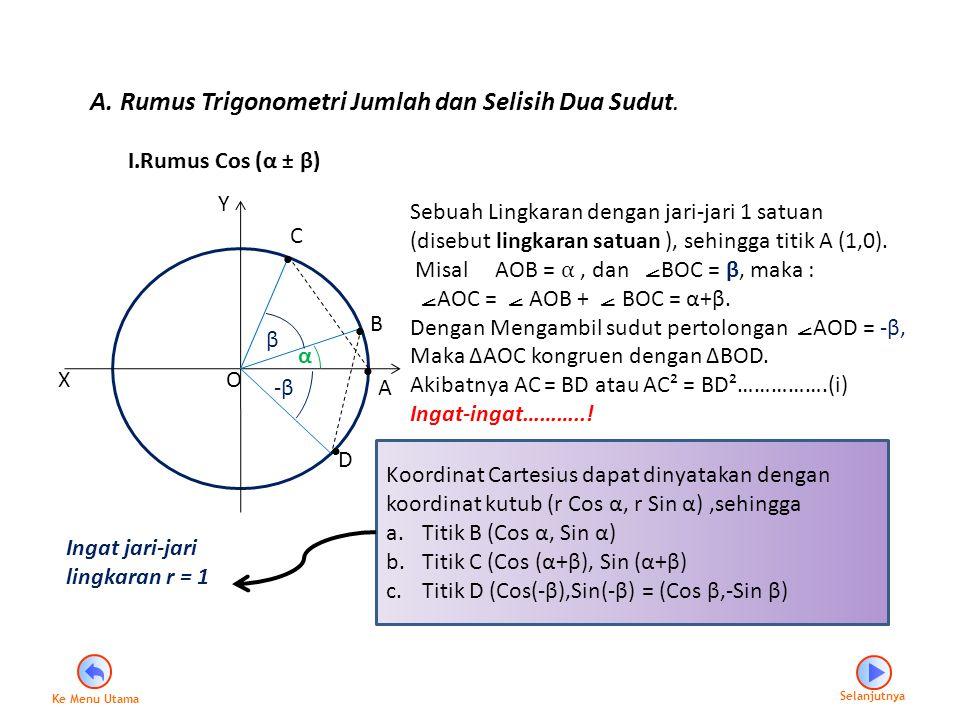 A. Rumus Trigonometri Jumlah dan Selisih Dua Sudut.