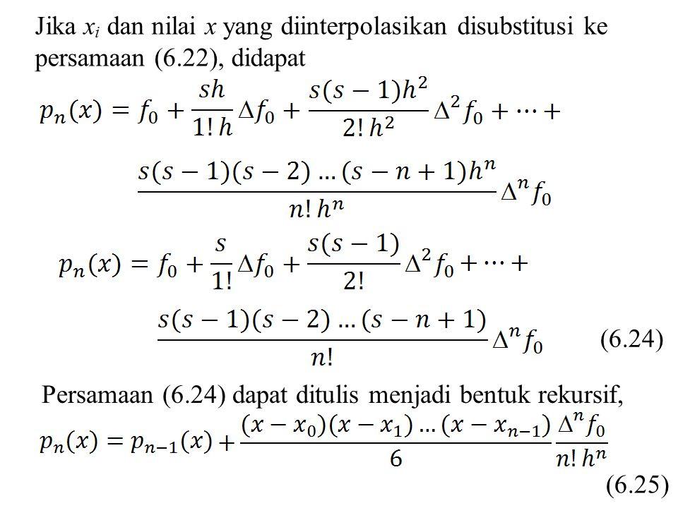 Jika xi dan nilai x yang diinterpolasikan disubstitusi ke persamaan (6